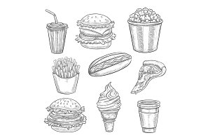 Fast food vector sketch isolated icons set