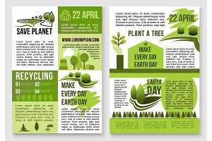 Save planet nature recycling concept vector poster