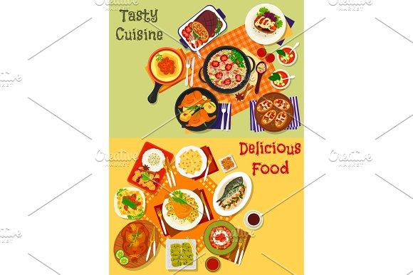 Italian Spanish And Japanese Cuisine Dishes Icon