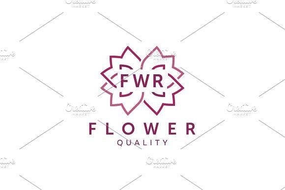 Simple And Graceful Floral Monogram Design Template Elegant Lineart Logo Design Vector Illustration Flat