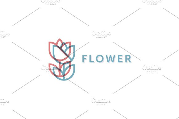 Simple And Graceful Floral Monogram Design Template Elegant Lineart Logo Design Vector Illustration