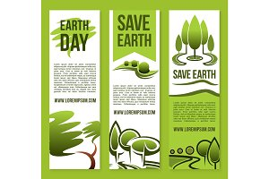 Vector banners Save Nature or Earth Day templates