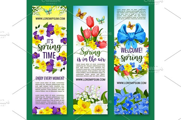 Hello Spring Vector Floral Banners Set