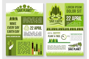 Save nature and earth protection vector templates