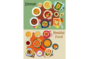 Dinner food icon with spanish and jewish dishes