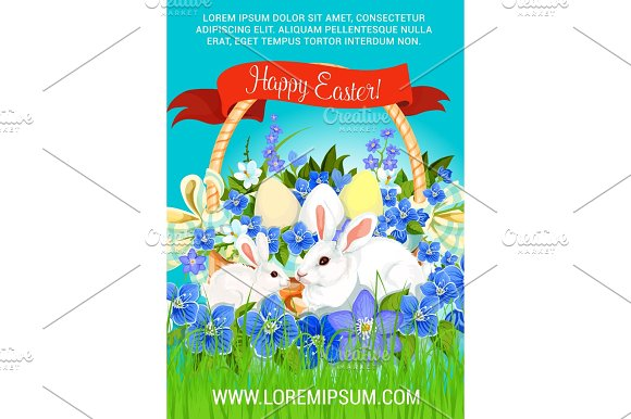 Easter Paschal Hunt Eggs And Bunnies Vector Poster