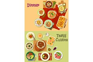 Restaurant dinner dishes icon for menu design