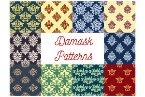 Damask seamless pattern set with floral ornament