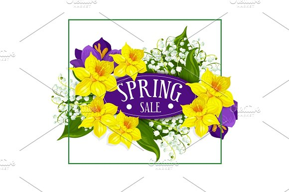 Spring holiday sale vector poster flowers bouquet