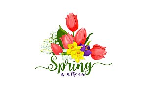 Spring holidays vector tulips flowers bouquet