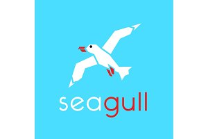 Seagull logo in stylish trend vector illustration icon flat