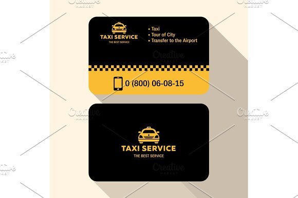Business Card Taxi Driver Flat Modern Trendy Style Yellow And Black Plastic Credit