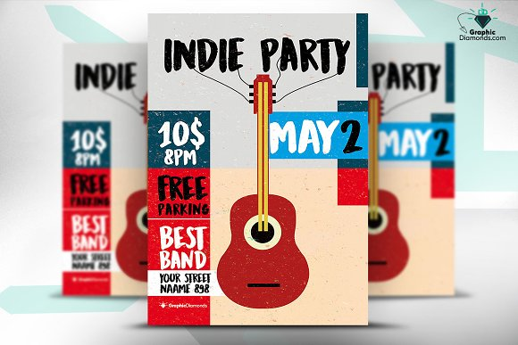 Indie Party Flyer PSD Template