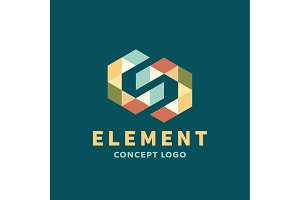 Logo element volume and flat polygon style vector icon of high-quality beautiful yellow sign