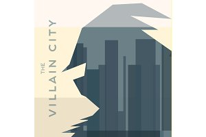 villain man silhouette shadow helmet background city building skyscrapers flat