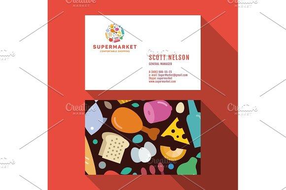 Business Card Qualitative Elegant Vector Logo And Professional Layout Supermarket Food