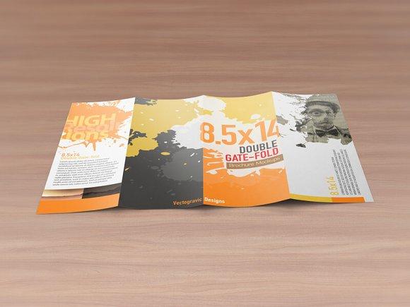 85x14 Double gatefold Mockups Product Mockups Creative Market – Gate Fold Brochure Mockup