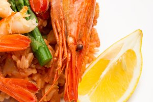 rice,shrimp,lemon close-up