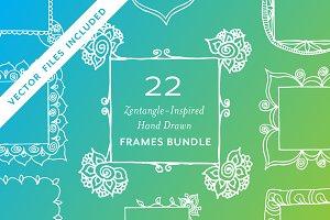 22 Zentangle HandDrawn Frames BUNDLE