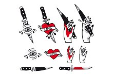 Vector traditional tattoo style set - hearts, knife, eye, hand, ribbons. Vintage ink old school tattooing