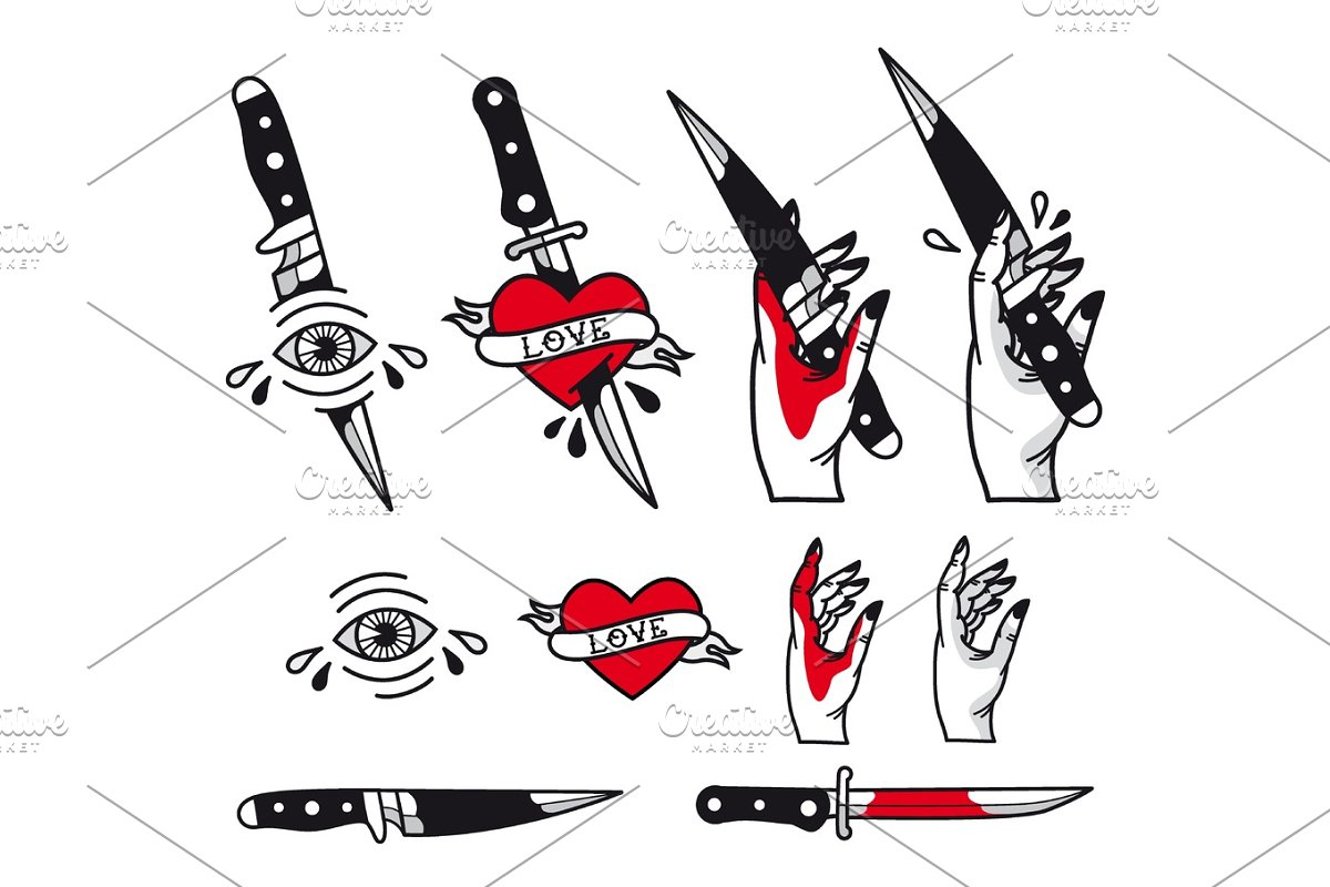 Vector Traditional Tattoo Style Set Hearts Knife Eye Hand