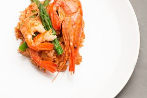 rice with shrimp on plate
