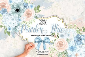 Watercolor Powder Blue design