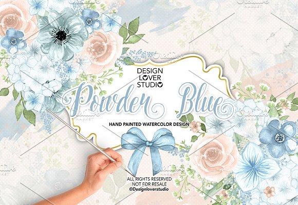 Watercolor Powder Blue design - Illustrations