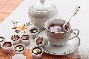 Sweets and a cup of tea.