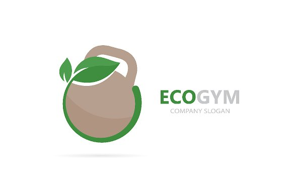 Vector of a weight and leaf logo combination. Sport and eco symbol or icon. Unique fitness and natural, organic logotype design template.