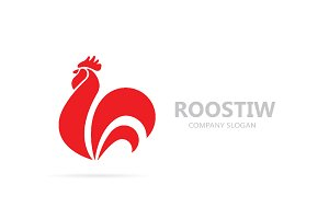 Vector of red fire rooster and cock logo combination. Unique bird and cockerel design element for new year 2017 greeting cards