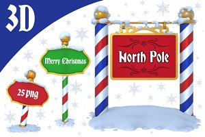 North Pole Sign - 3D
