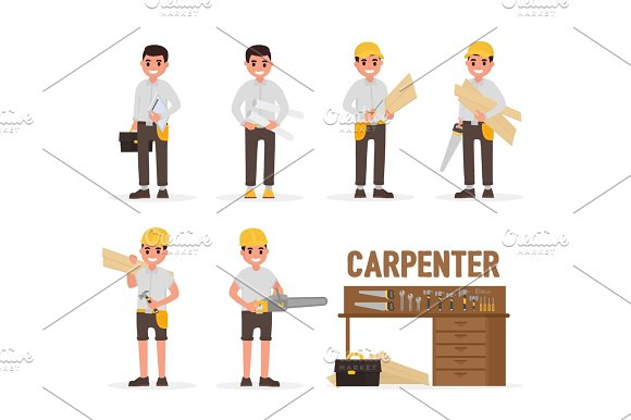 Carpenter Joiner Foreman Engineer And Woodworker Elements Collection With Various People Actions Vector Illustration In Flat Style