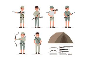 Hunter, huntsman, gamekeeper, forester and archer elements collection with weapons and various people actions. Vector illustration in flat style