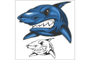 Cartoon shark mascot. Vector illustration