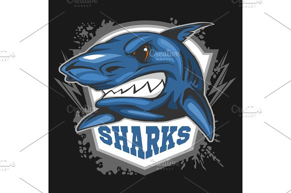 Mascot Sharks Emblem For A Sport Team