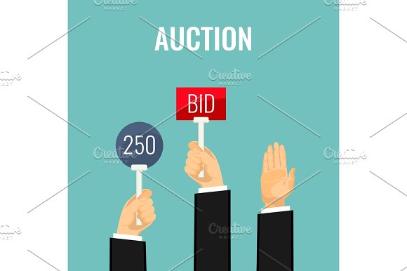 Auction With Hands Holding Paddles Number And BID Inscriptions Vector