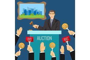 Auction process with man holding wooden gavel behind special stand