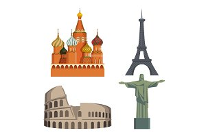 Worlds attractions Kremlin, Eiffel tower, Italian Coliseum, Statue of Christ