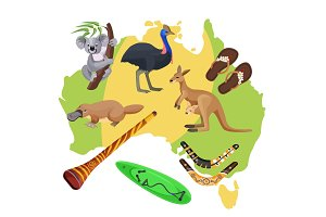 Australia symbols on map. Koala, kangaroo, surfboard, boomerang, ostrich, platypus,