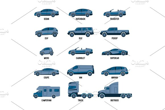 Automobile Set Isolated Car Models Of Different Sizes Or Capabilities
