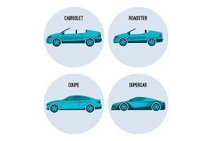 Cabriolet automobile, roadster spider, coupe twodoor car and supercar vector