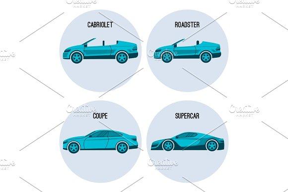 Cabriolet Automobile Roadster Spider Coupe Twodoor Car And Supercar Vector