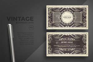 Black vintage business card template