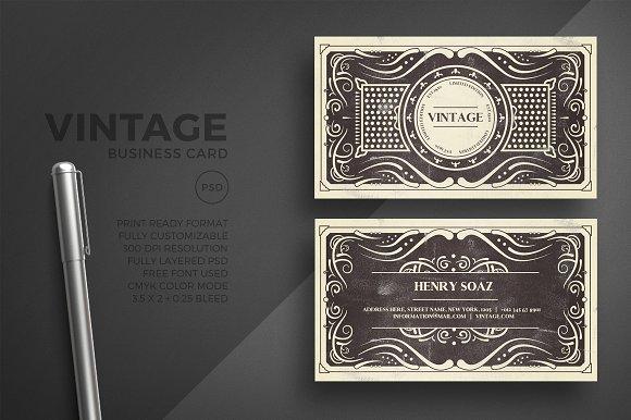Black Vintage Business Card Template