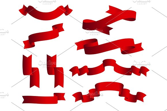 Collection Of Ribbons With Blue Vector Eps10