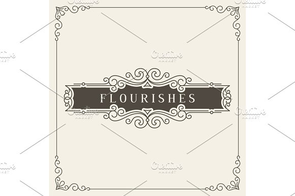 Royal Logo Design Template Vector Decoration Flourishes Calligraphic Elegant Ornament Frame Lines Good For Luxury
