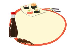 Circle with Red Frame with Soy Sauce and Sushi