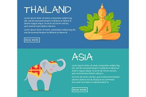 Set of Asia and Thailand Flat Vector Web Banners
