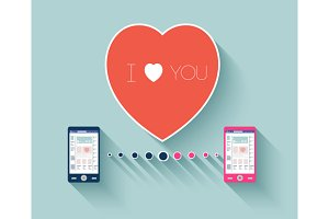 Heart with smartphones love